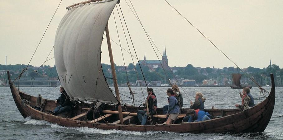 Viking ship in Roskilde fjord outside Copenhagen, VisitDenmark.
